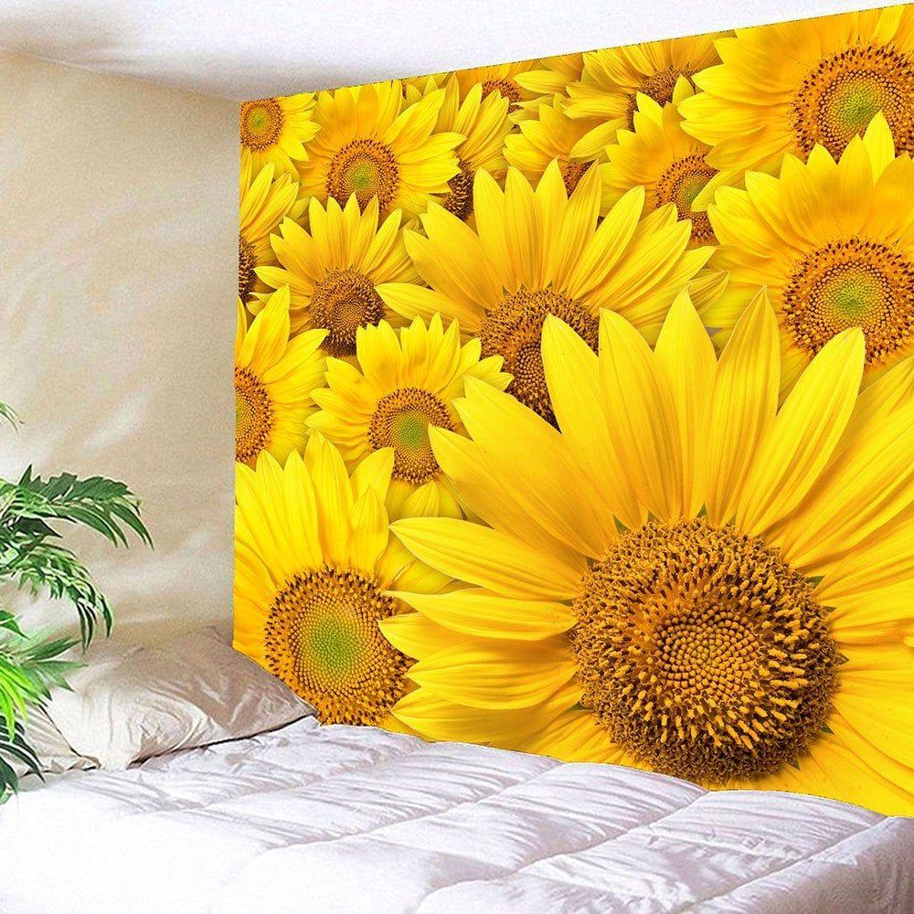 Waterproof 3D Sunflowers Printed Wall Tapestry   Sunflower print ...