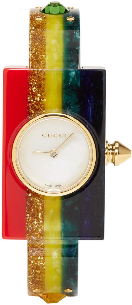65c489d9b1925c Gucci - Multicolor Rainbow Plexiglass Watch