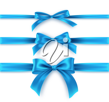 Set Blue Bow And Ribbon On White Background Realistic Blue Bow For Decoration Design Holiday Frame Border Vect In 2021 Vector Illustration Blue Bow White Background