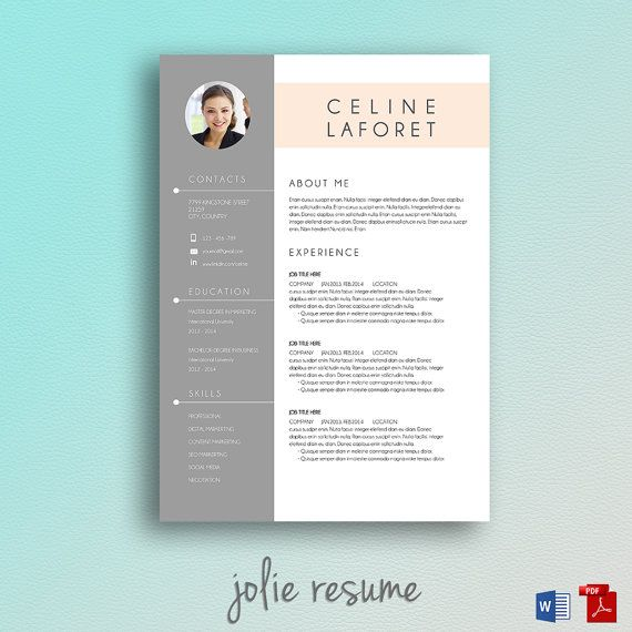 Resume Template Celine  Ms Word By Jolieresume On Etsy  Unicore