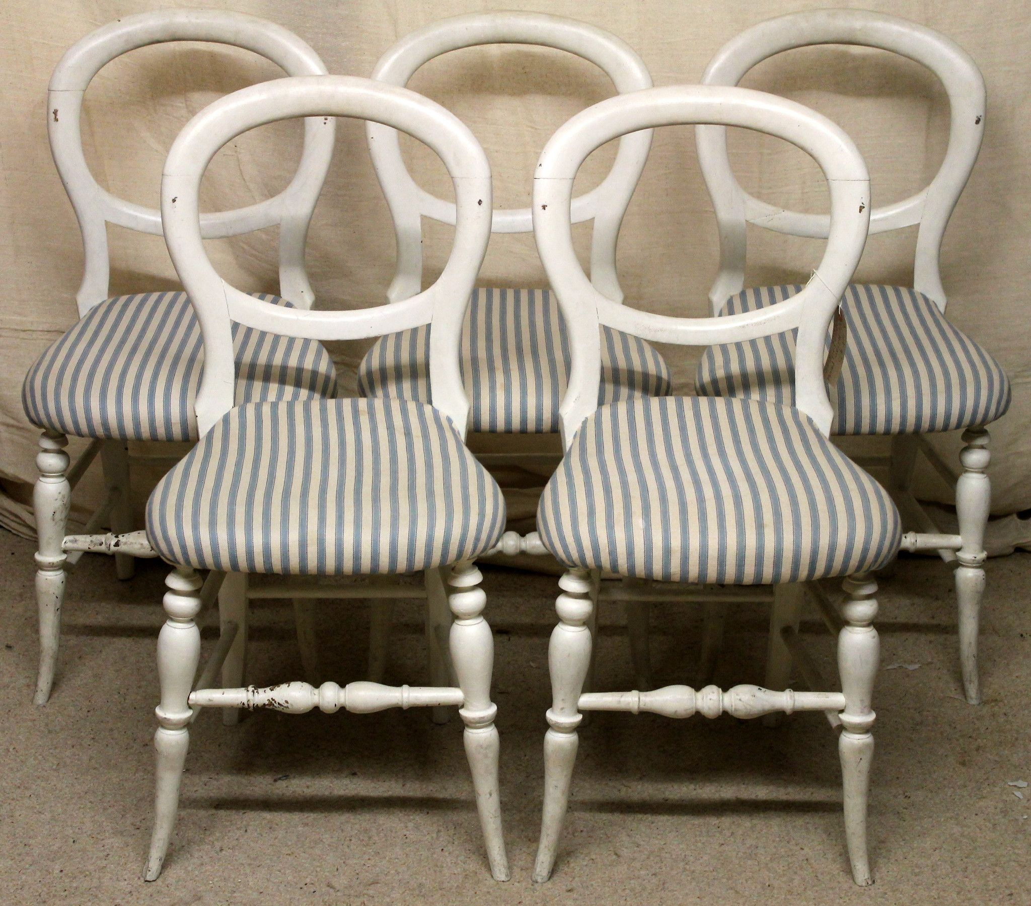 Set of Five Victorian Antique Balloon Back Dining Chairs