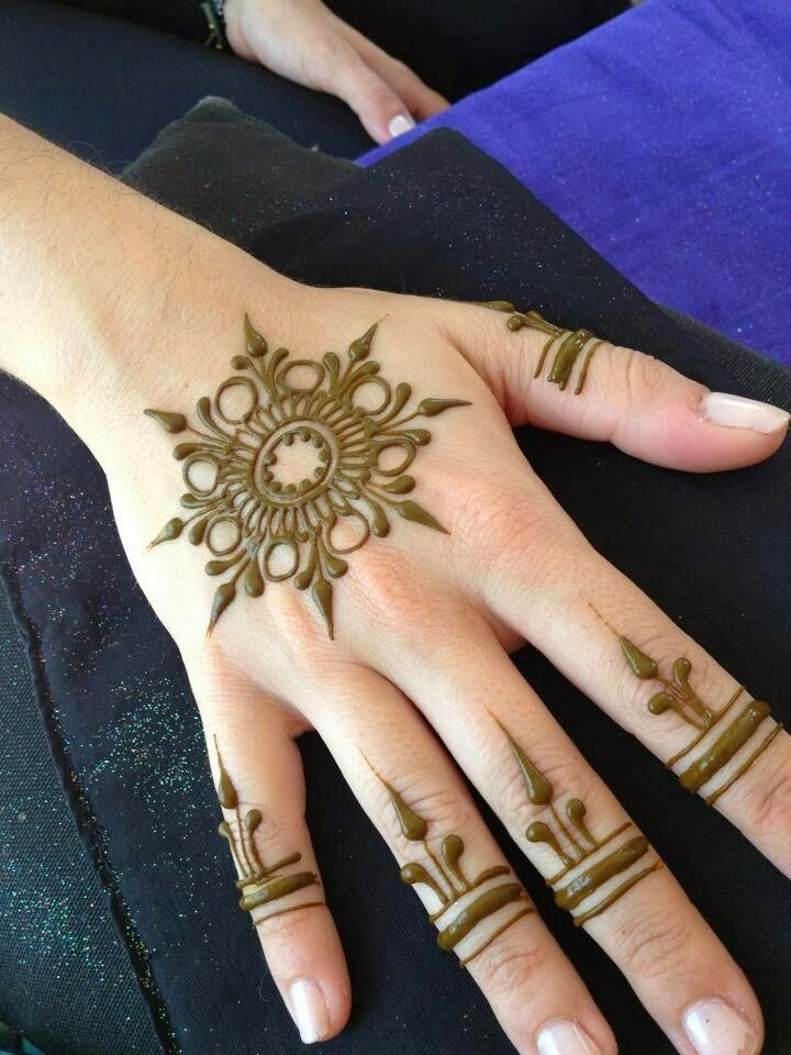Red Henna Tattoo: Floral Henna Design For Hand