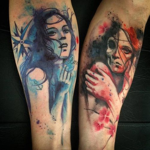 Why You Should Or Shouldn T Get A Watercolor Tattoo: Tatuaje Coincidente Titulado Complementar. Artista