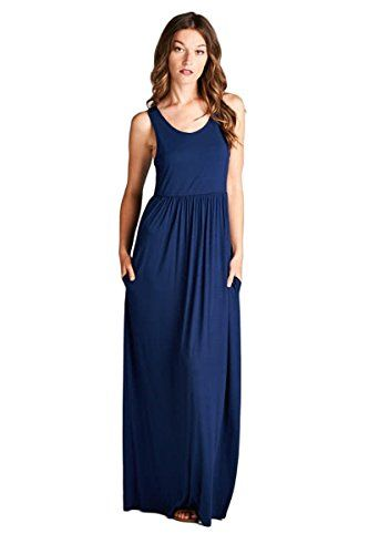 473275453f Vanilla Bay Solid Racerback Pocket Maxi Dress *** More info could be found  at the image url.