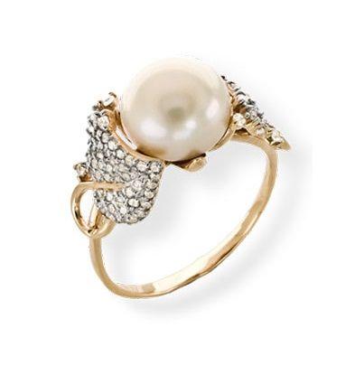 2b3919d08 Кольцо из золочёного серебра с жемчугом » Злата Мода - сеть ювелирных  салонов в Москве и