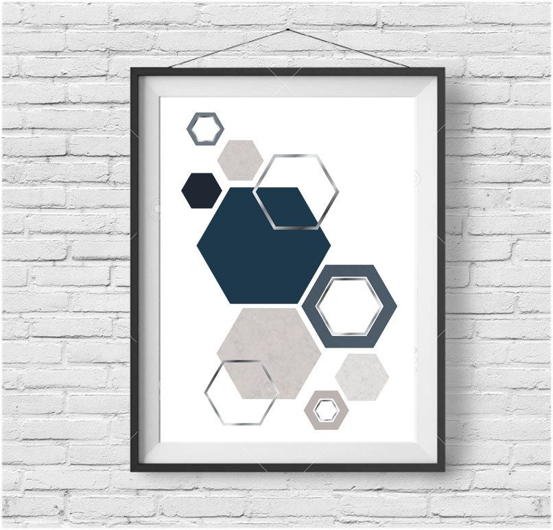 Scandinavian Print Hexagon Art Geometric Print Navy by PrintAvenue