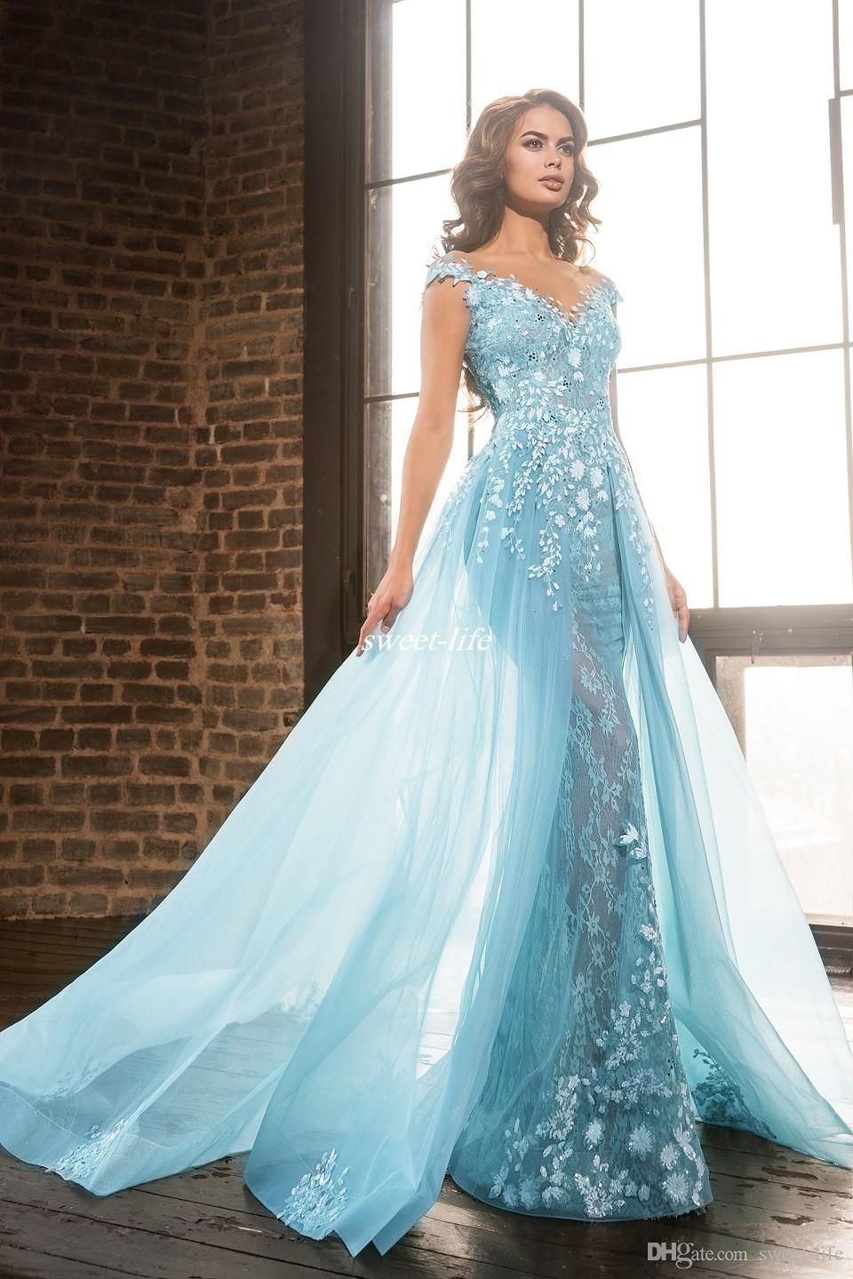 2017 Elie Saab Overskirts Pageant Celebrity Dresses Arabic Sheer Jewel Lace Applique Beads A Line Tulle Formal Evening Long Party Prom Gowns