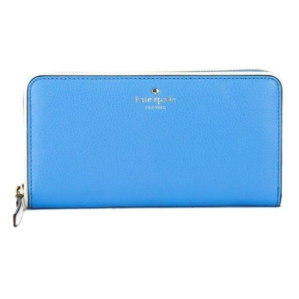Pre-Owned Kate Spade Alice Blue and Cement Leather Cobble Hill Lacey... (£135) ❤ liked on Polyvore featuring bags, wallets, blue, blue leather wallet, kate spade wallet, blue wallet, leather credit card holder wallet and zipper wallet