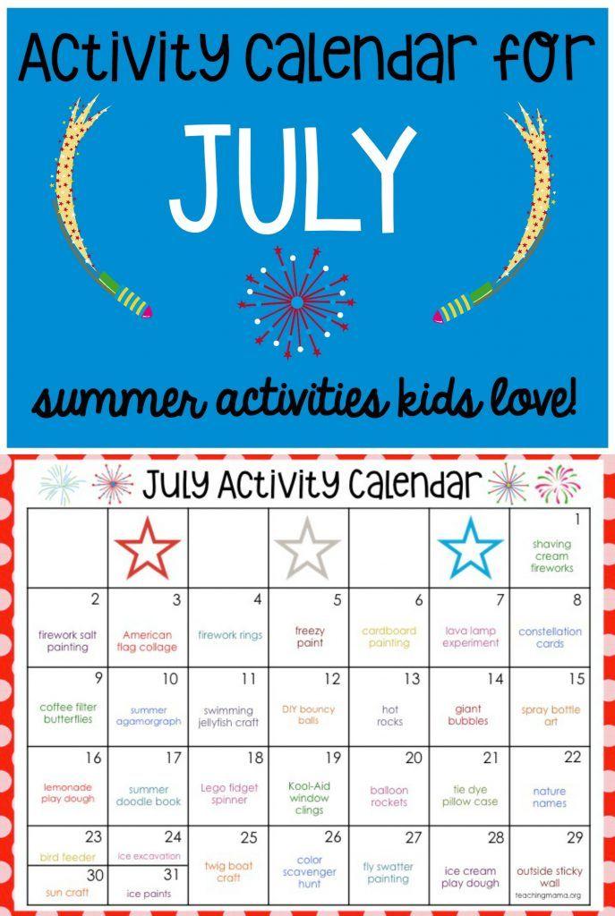 July Activity Calendar Activities, Fun activities and Teaching ideas - activity calendar