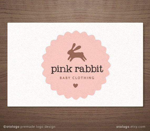 Premade Logo Design Bunny Emblem Label Kids Baby Boutique Photography Small Business