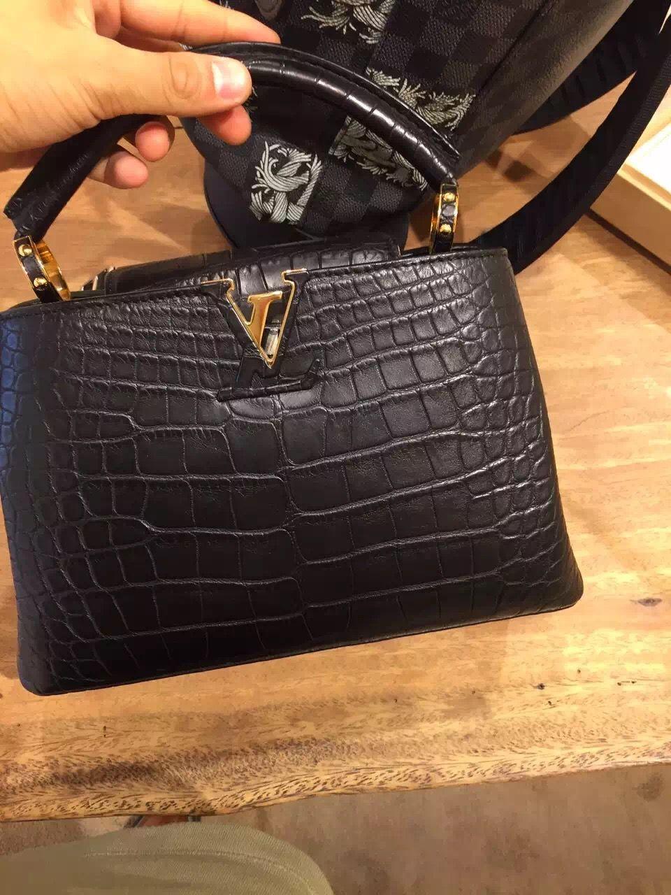 1d79fa000c7d Authentic Louis Vuitton Capucines Bb Crocodile Skin Bag N91636 B