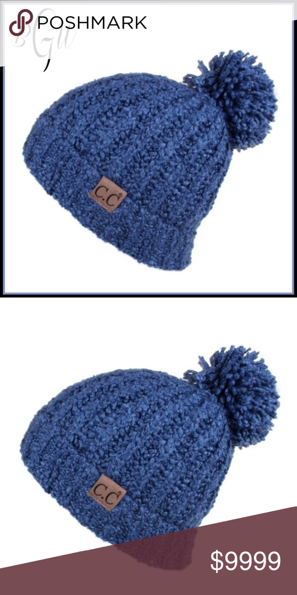 ❄ 🆕CS Dark Denim Chenille Pom Beanie COMING SOON Chenille knit C.C. Beanie  with pom  100% acrylic  Dark Denim Boutique with Grace Accessories Hats 7eb8e1d701d1