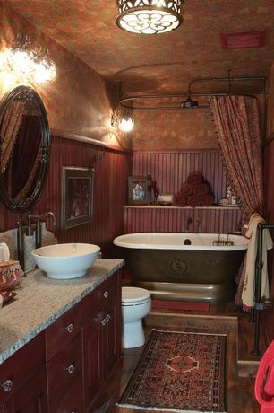 Cottage Master Bathroom with interior wallpaper, Wainscoting ...