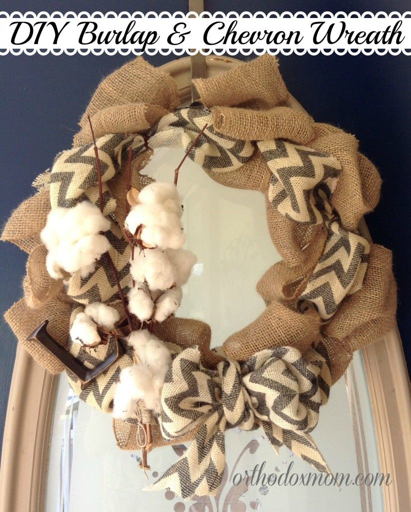 DIY Burlap Chevron Wreath