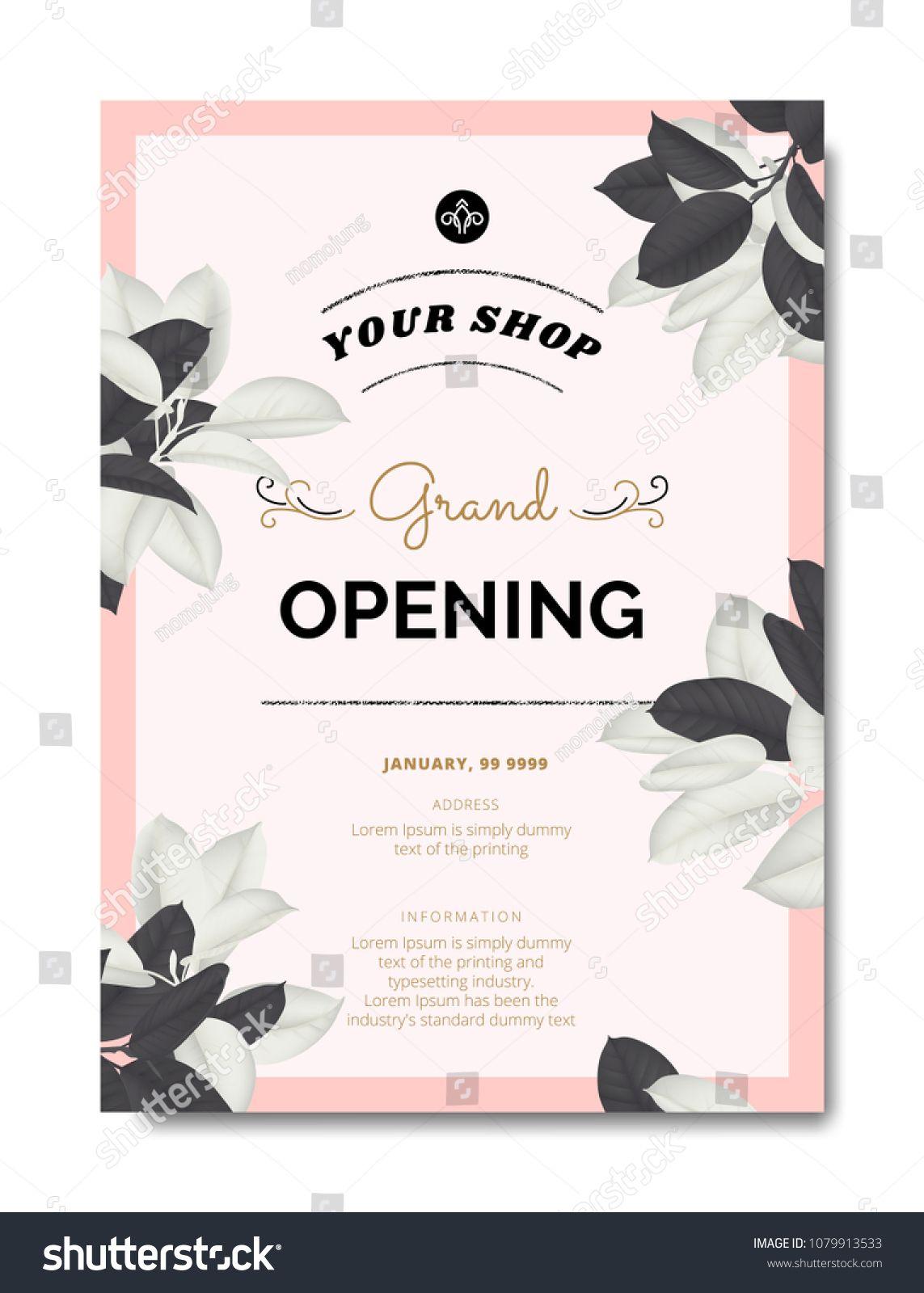 Https Www Shutterstock Com De Image Vector Botanical Grand Opening Invitation C Shop Opening Invitation Card Grand Opening Invitations Invitation Card Sample