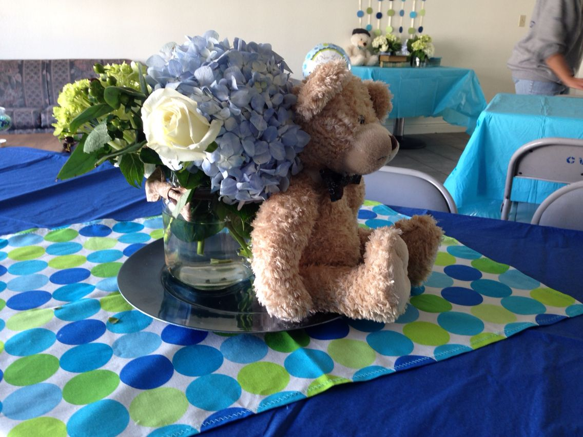 Centerpieces Teddy Bears And Bow Tie Baby Shower Theme Party Decor
