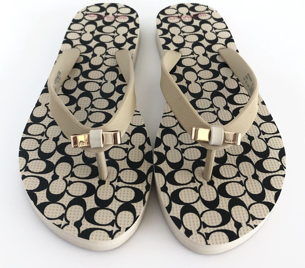 c54dbec6b NEW Coach Signature C Amel Poppy Milk Black Women Size 8 Flip Flops Sandals  Bow  Coach  FlipFlops