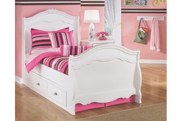 White Twin Sleigh Beds With Space Saving Under Bed Drawers Are