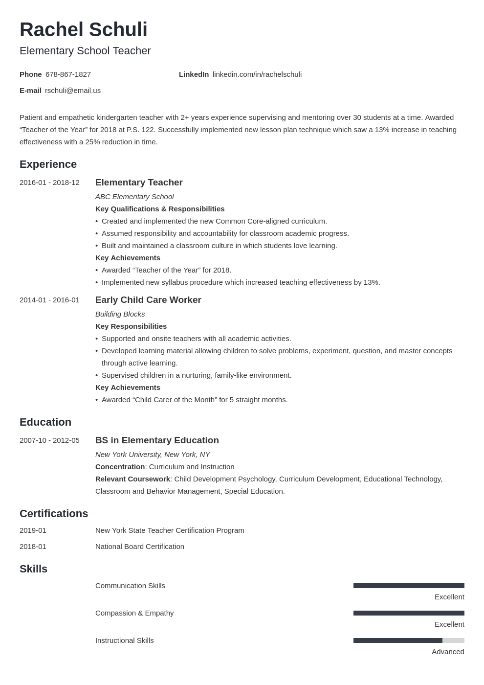 elementary teacher resume example template minimo in 2020