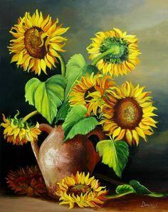 Sunflowers Painting Alcantara Dominica Acrylic