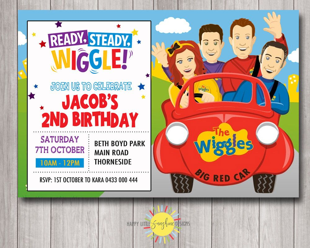 Custom Printable Birthday Invitation Any Age 5st Birthday Wiggles