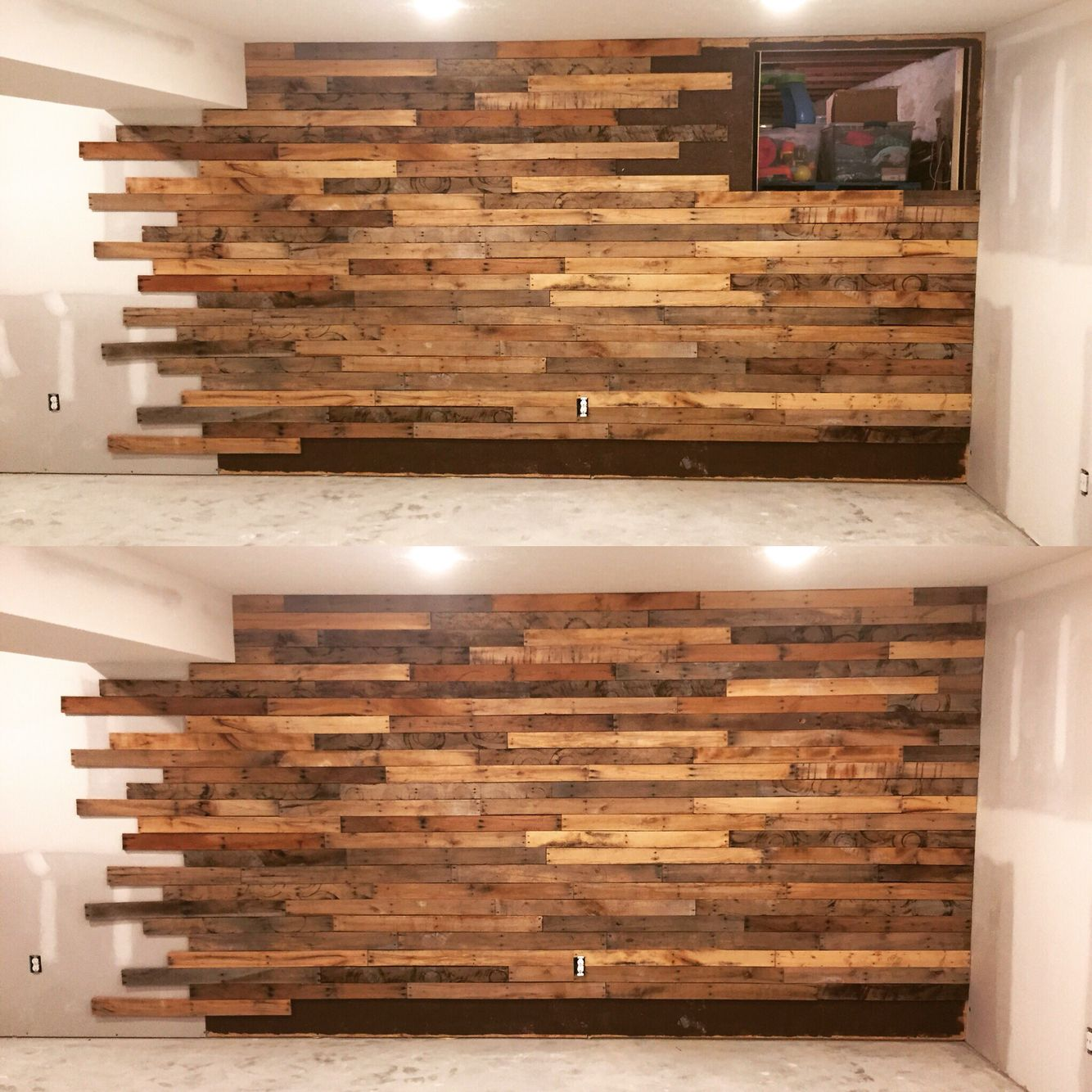 Lighting Basement Washroom Stairs: Pallet Wall With Hidden Access Into The Basement Crawl
