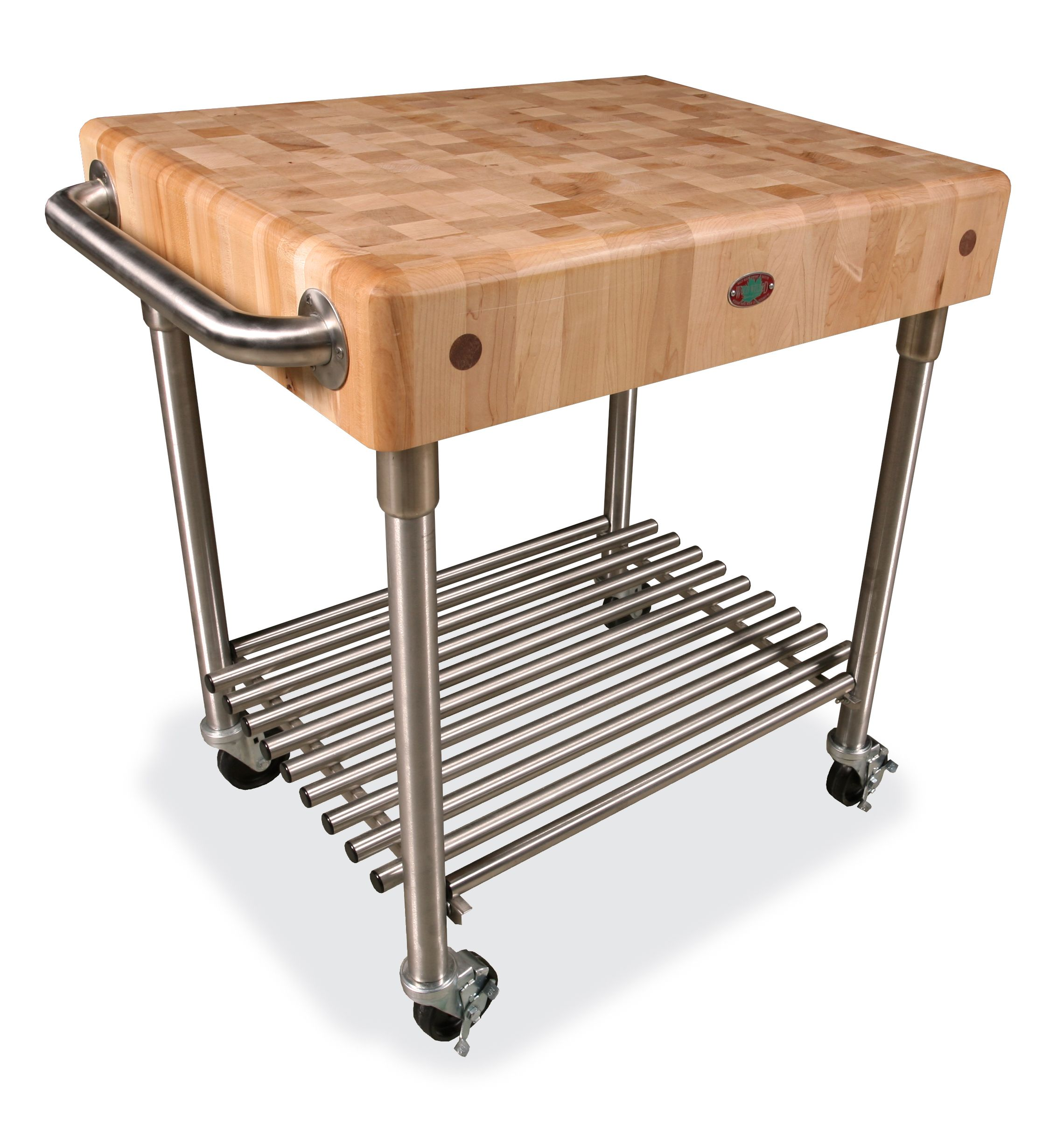 rolling butcher block table with under shelf and handle
