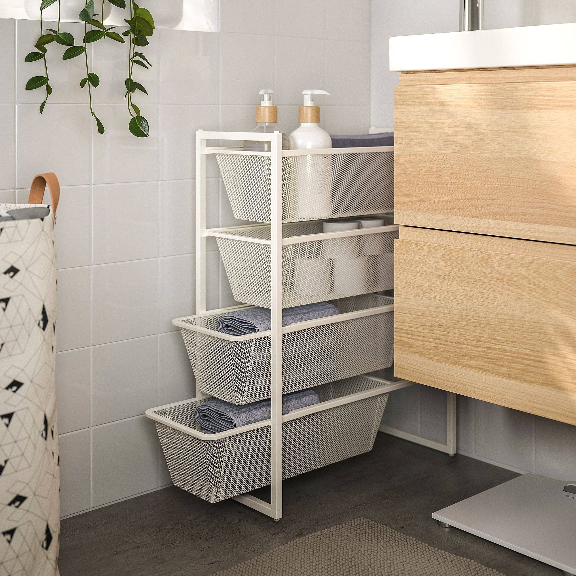 Jonaxel Rahmen Mit Netzdrahtkorben Ikea Osterreich Ikea Small Bathroom Storage Shelving