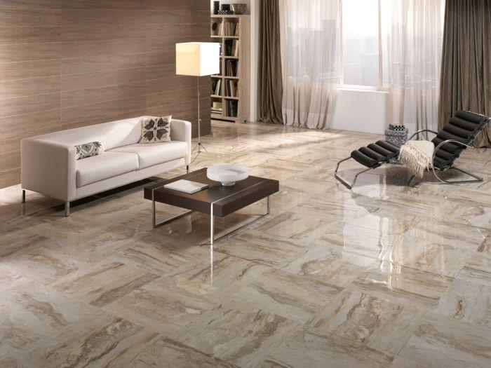 Wohnzimmer Fliesen - 37 klassische und tolle Ideen für Bodenfliesen