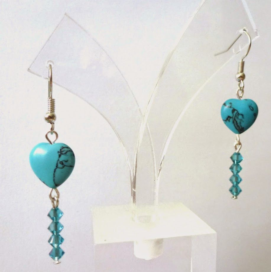 Beading with love: Turquoise Heart Romantic Earrings with Swarovski s...