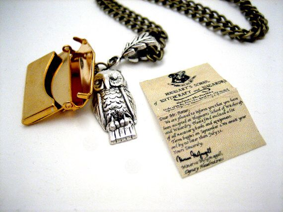 Owl and letter necklace