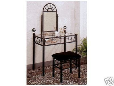 Black Metal Bedroom Vanity with Glass Table & Bench Set ...