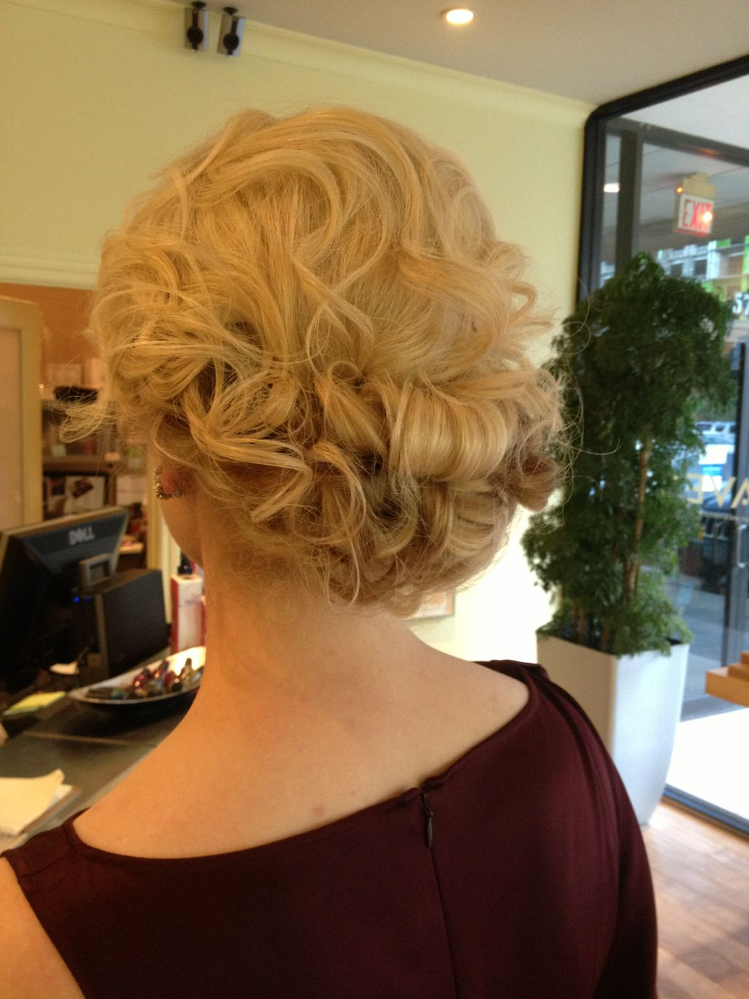 Curly romantic updo formal hair style wedding bride bridal up