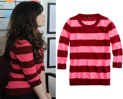 Jess's pink and red stripe sweater on New Girl. Outfit details ...