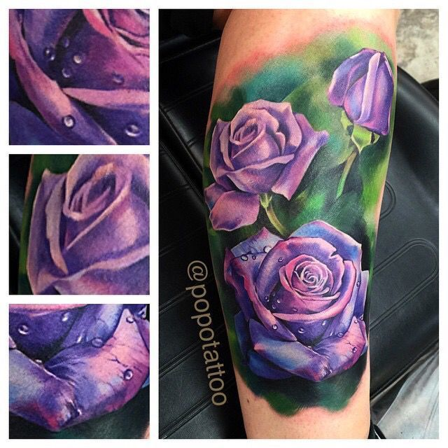 Image result for purple flower tattoo on shoulder | Purple ...