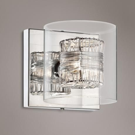 Possini Euro Wrapped Wire 5 High Chrome Wall Sconce Bathroom