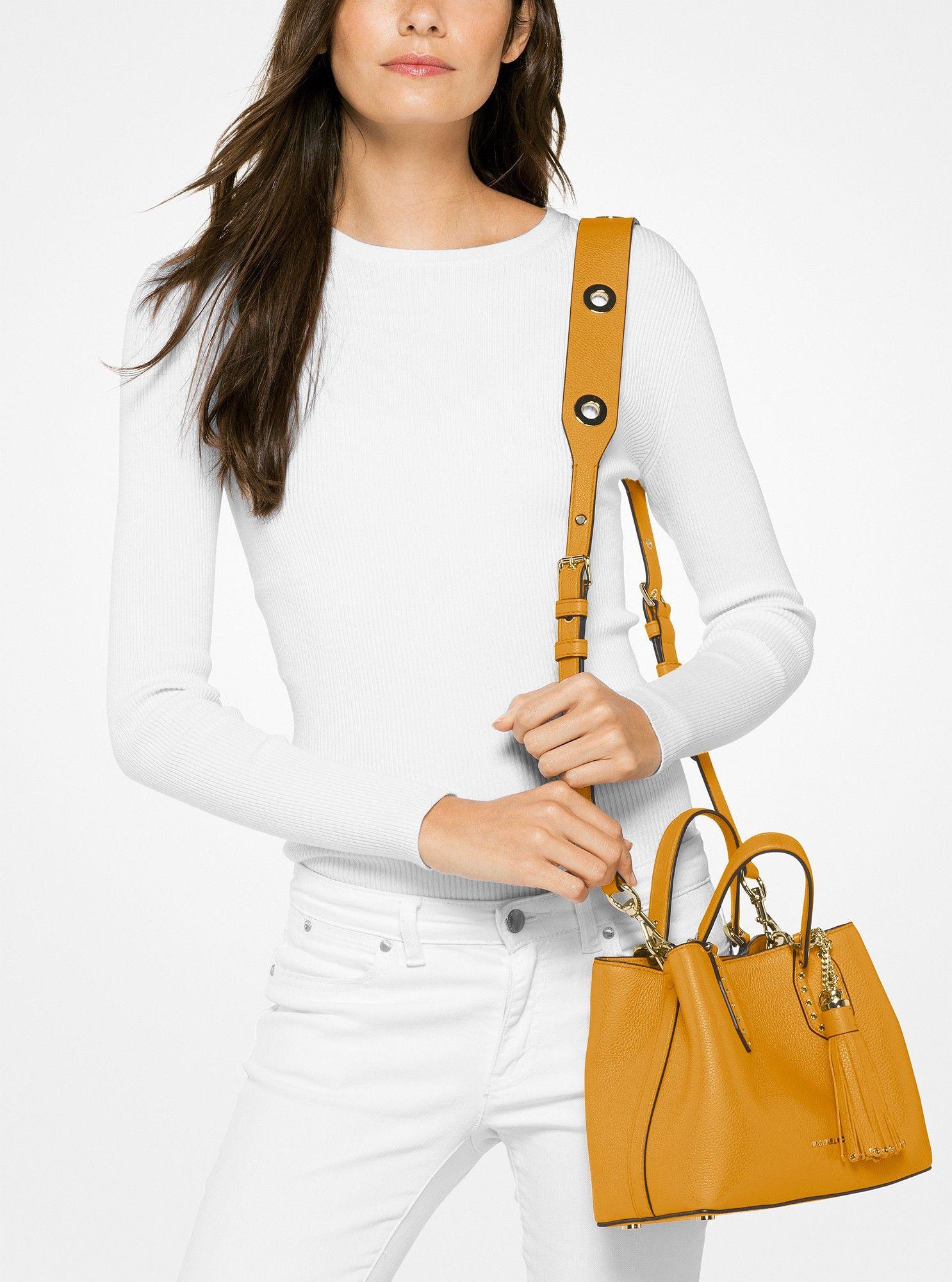 3221f71f83a2 Michael Kors Brooklyn Small Leather Satchel - Marigold | Products ...