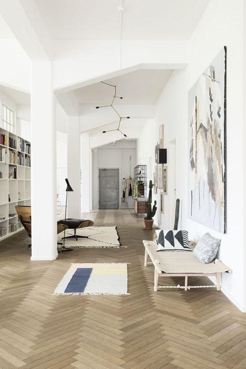 Pale Wood Herringbone Floor In Home Of Ferm Living Founder Trine