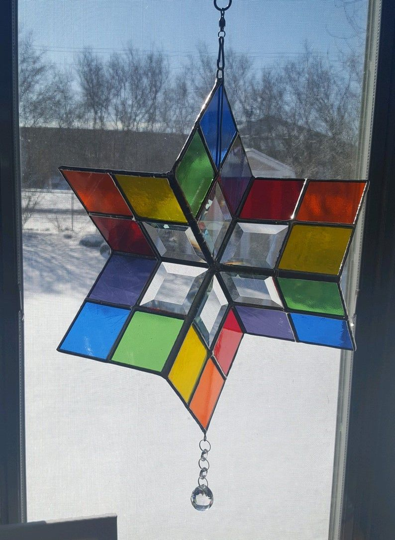 Multi Colored Stained Glass Wind Spinner Rainbow Stained Etsy In 2021 Multi Colored Stained Glass Stained Glass Suncatchers Glass Mosaic Art