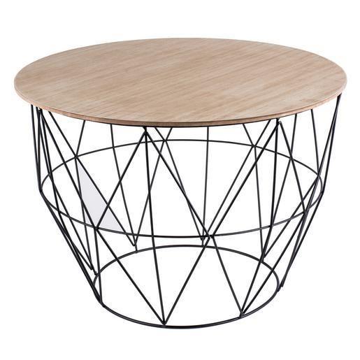 Table Panier Mdf Metal Et Paulownia 55 X 55 X H 41 Cm Noir Et Bois Mobilier De Salon Table Noire Parure De Lit