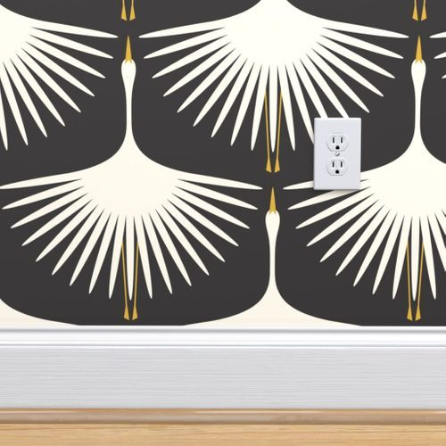 Art Deco Swans - Cream on Black