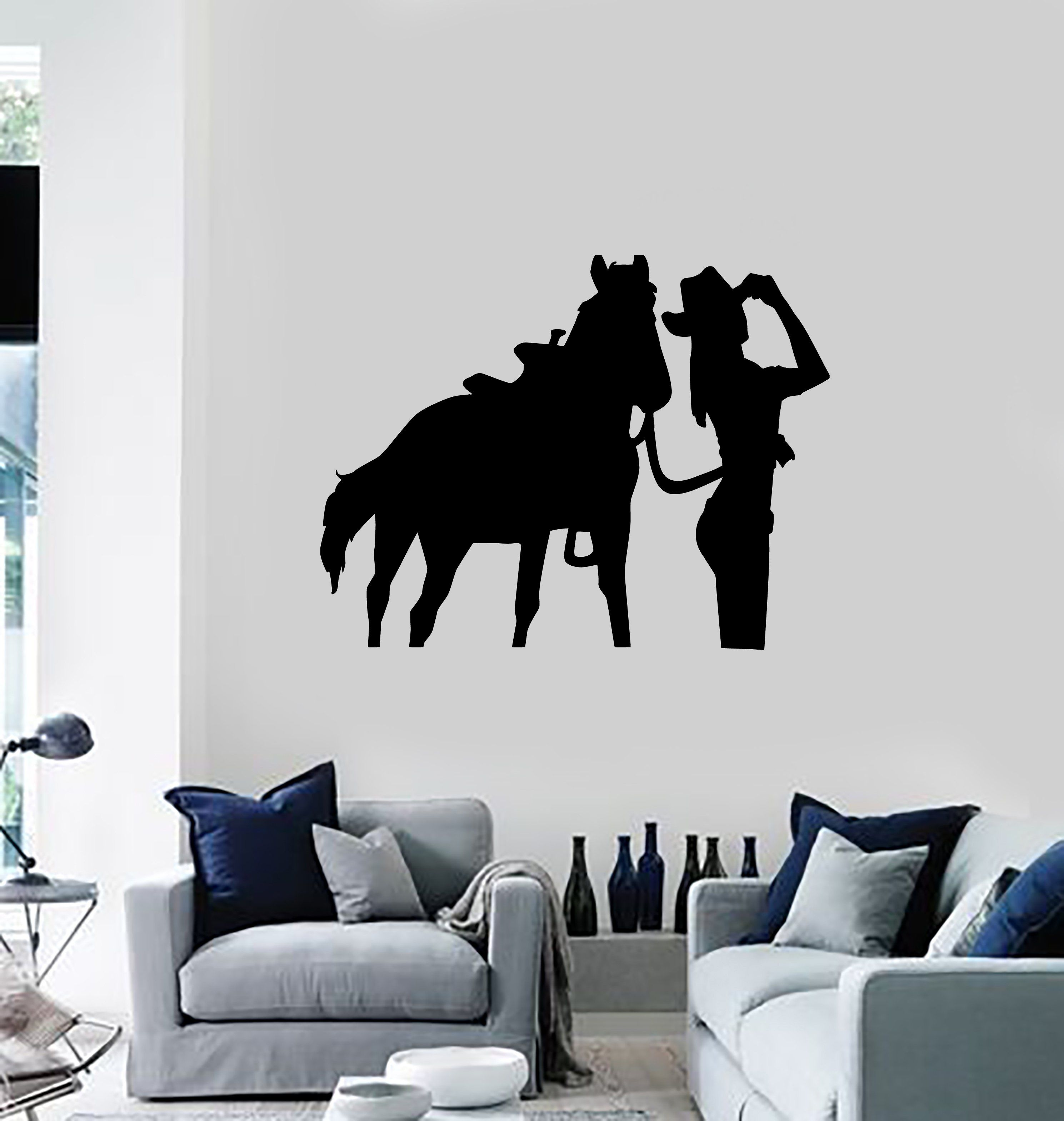 Vinyl Decal Wall Sticker Cowgirl Horse Western Home Decor Unique