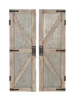 Galvanized Metal Barn Door Plaques Set Of 2