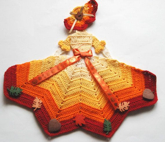 Autumn Theme Crinoline Lady Crochet Doily with Leaves