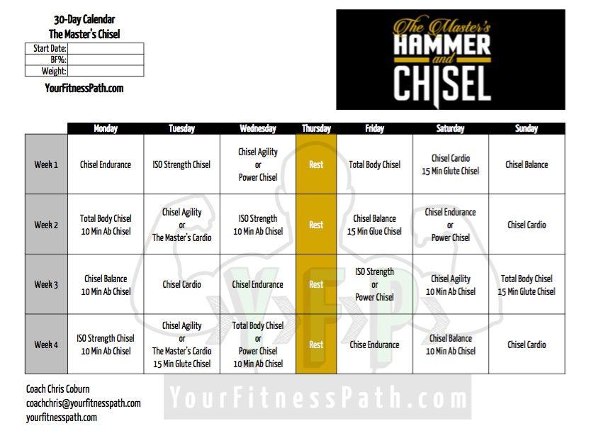 Hammer and Chisel Workout Calendar Masters Chisel 30 Days H\C - workout calendar