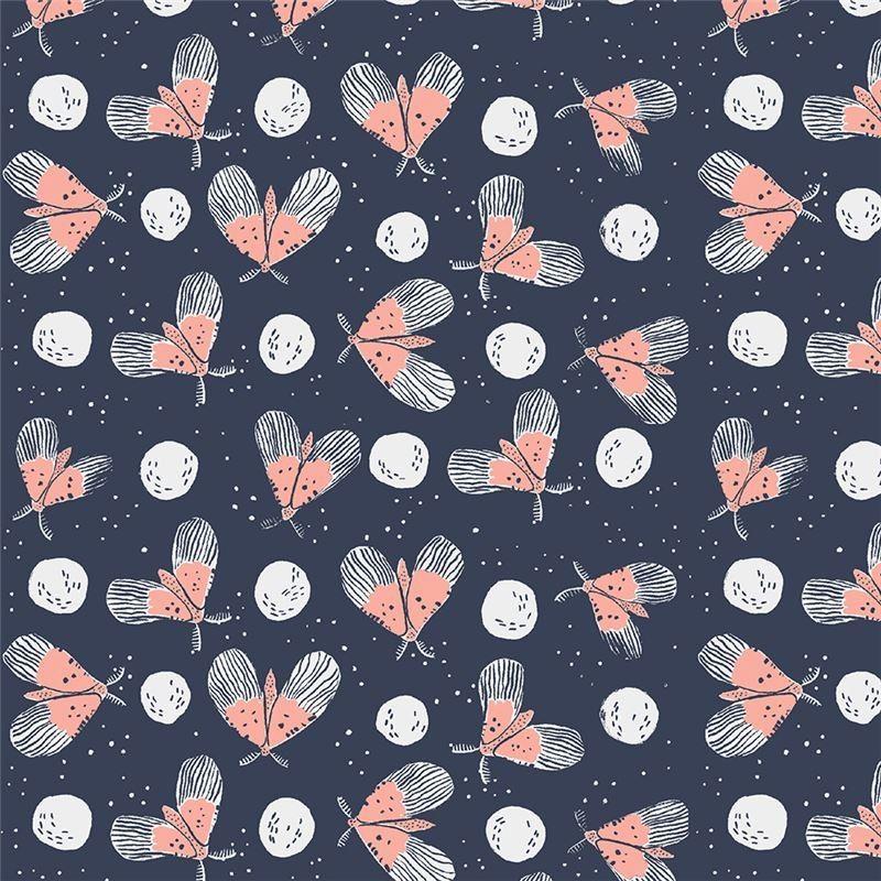Dunkelgraublauer Stoff Mit Insekten Design Rae Ritchie Flying Moths 100 Baumwolle Glatter Baumwollstoffgrosse Der Grosste Moon Garden Dear Stella Bunny Quilt