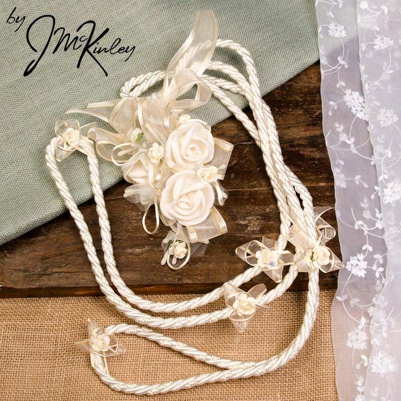 budget lazo ivory lazo with flower detail wedding lasso lazo de boda