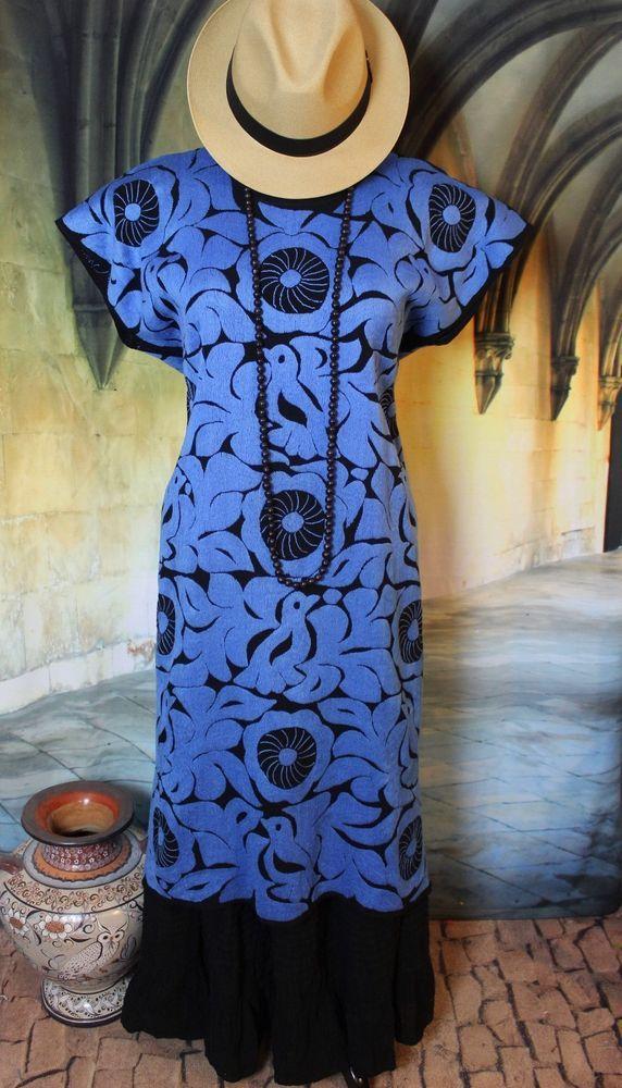 Mexican Huipil Kaftan Dress Hand Embroidered Blue & Black Jalapa Oaxaca Fiesta #Handmade #