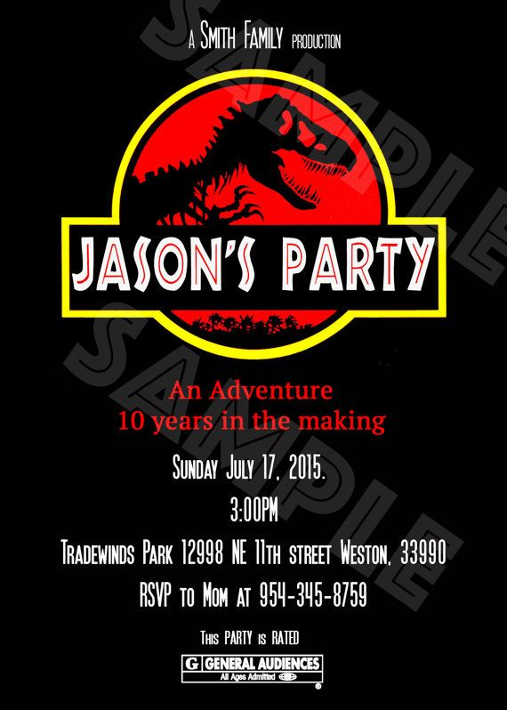 Jurassic Park Jurassic World Invitation Kids Birthday Ideas