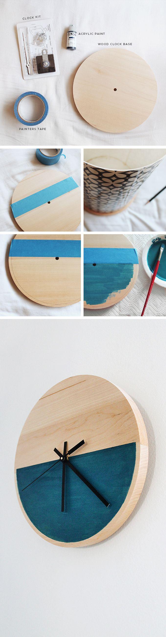 Hacer un bonito reloj de madera./ Make a lovely wooden clock. #recycledesign